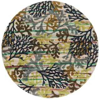 Flatweave Maria Grey/ Multi Coral Round Rug (3'0 x 3'0)