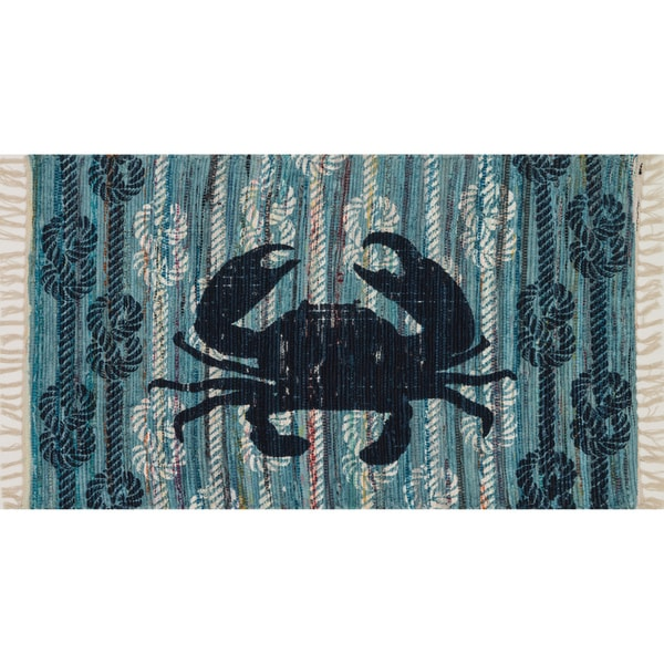 Flatweave Maria Blue Seaside Crab Rug (2'3 x 3'9)