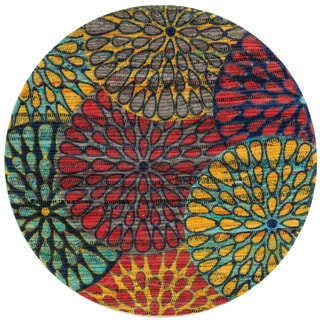 Flatweave Maria Light Blue/ Multi Round Rug (3'0 x 3'0)