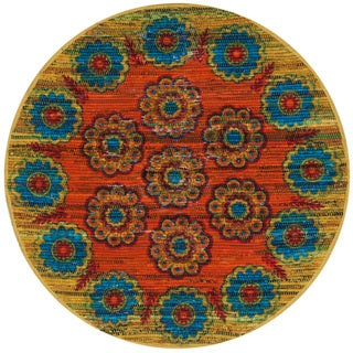 Flatweave Maria Orange/ Multi Medallion Round Rug (3'0 x 3'0)
