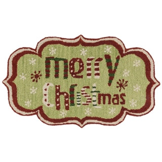 Hand-tufted Keely Green/ Red Merry Christmas Peace Rug (2'3 x 3'9)