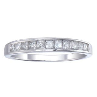 14k White Gold 1/2ct TDW Channel-set Princess-cut Diamond Wedding Band (G-H, I1-I2)