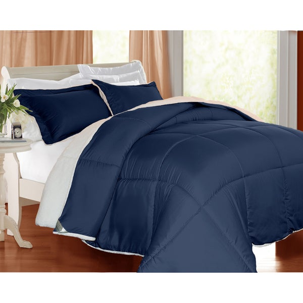Kathy Ireland Microfiber/Sherpa Down Alternative 3-piece Full/ Queen Comforter Set in Brick (As Is Item)