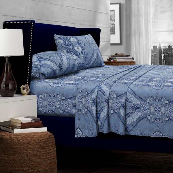 Atlantis Printed 300 Thread Count Deep Pocket Egyptian Cotton Sheets with Oversize Flat