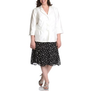 Danillo Women's Plus Size 2-piece Crepe Jacket with Polka Dot Skirt