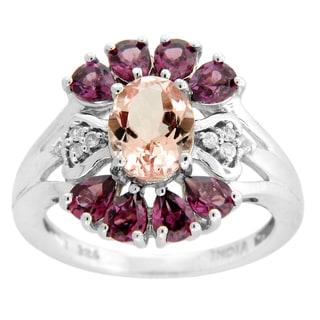 Sterling Silver Morganite Rhodolite Garnet and White Zircon Flower Ring