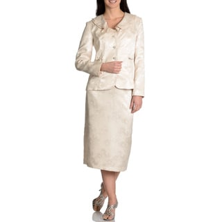 Danillo Women's Double Collar 2-piece Champagne Skirt Suit