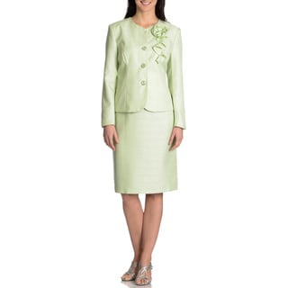 Danillo Women's Collarless Celery 2-piece Skirt Suit