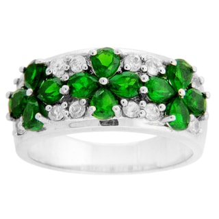 Sterling Silver Chrome Diopside and White Zircon Flower Ring