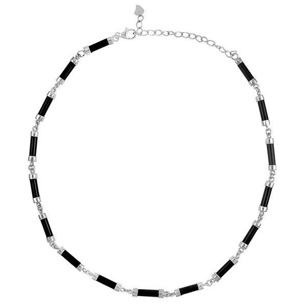 Sterling Silver Black Onyx Barrel Shape Necklace
