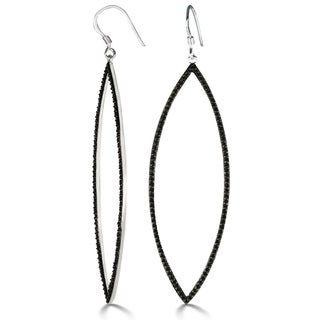 1ct Black Diamond Dramatic Navette Dangle Earrings Crafted In Solid Sterling Silver