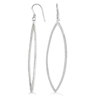 1ct Diamond Dramatic Navette Dangle Earrings Crafted In Solid Sterling Silver (J-K, I1-I2)