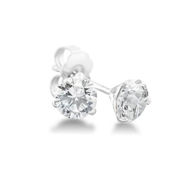 1/4 Carat Diamond Martini Stud Earrings In 14 Karat White Gold, (J-K, I2-I3) 15455813