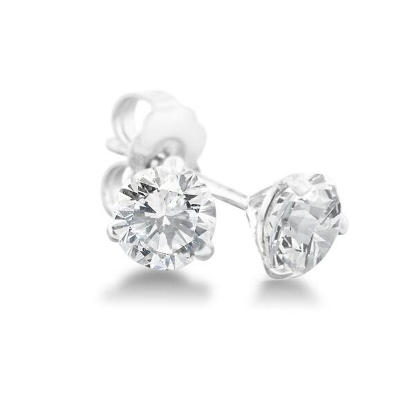 1/2 Carat Diamond Martini Stud Earrings In 14 Karat White Gold, (J-K, I2-I3) 15455814
