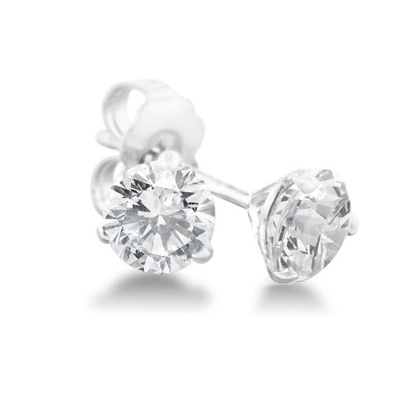 1 Carat Diamond Martini Stud Earrings In 14 Karat White Gold, (J-K, I2-I3) 15455815