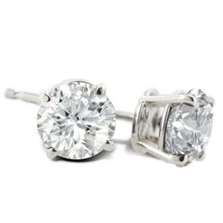 1 Carat Diamond Stud Earrings In Platinum, (J-K, I2-I3)