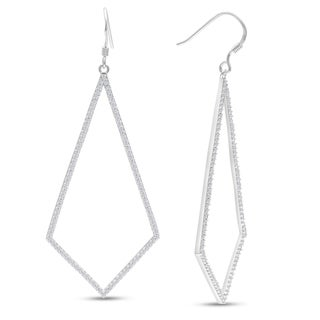 1ct Diamond Geometric Dangle Earrings Crafted In Solid Sterling Silver (J-K, I1-I2)