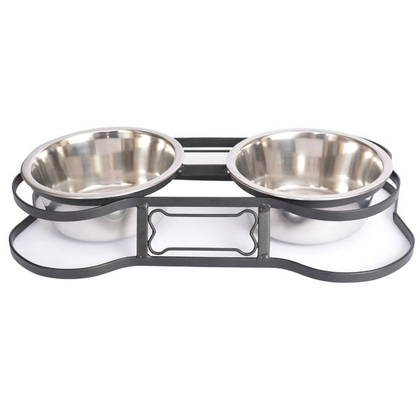 Iconic Pet Stainless Steel Heavy Duty Bone Design Pet Double Diner