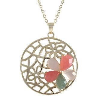 Goldtone Sterling Silver Gemstone Flower Necklace