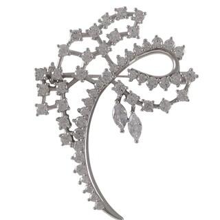 Sterling Silver Cubic Zirconia Curlicue Brooch