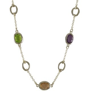 Gold Finish Multi-color Oval Glass Stones Necklace