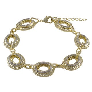 Gold Finish Two-tone Cubic Zirconia Hammered Oval Link Bracelet