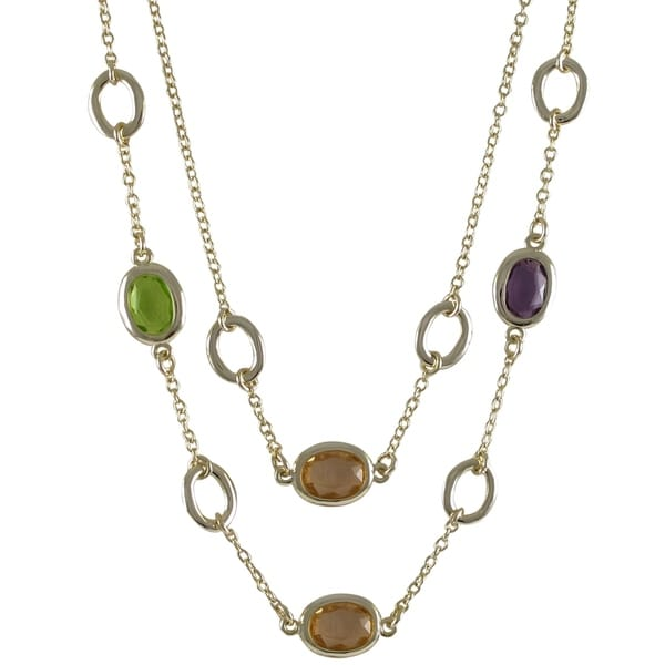 Gold Finish Multi-color Glass Stones Two-row Necklace
