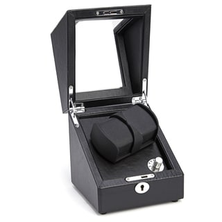 Royce Leather Luxury Battery-powered Pebbled Leather Double Watch Winder