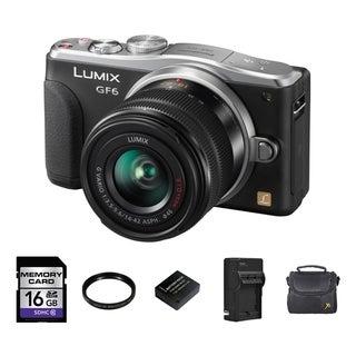 Panasonic Lumix DMC-GF6 Digital Camera w/14-42mm with 2 Batteries and 16GB Card Bundle