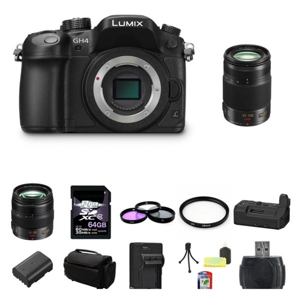 Panasonic Lumix DMC-GH4 4K Digital Camera Panasonic Lumix G X Vario 12-35mm f/2.8 Asph. Lens for Micro 4/3 (Black) 64GB Bundle