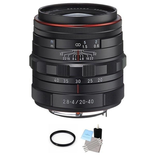 Pentax HD DA Black 20-40mm f/2.8-4 ED DC WR Lens with UV Filter and Cleaning Bundle