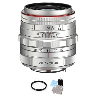 Pentax HD DA Silver 20-40mm f/2.8-4 ED DC WR Lens with UV Filter and Cleaning Bundle
