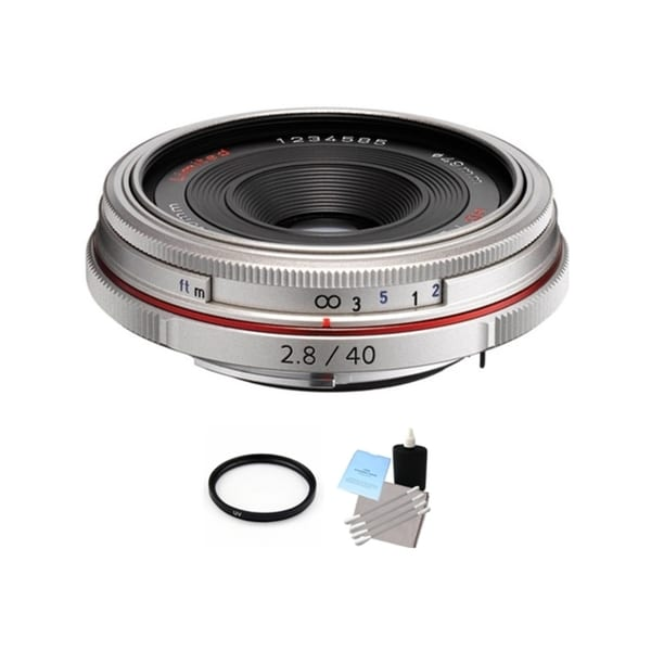 Pentax HD DA Silver 40mm f/2.8 Limited Lens with UV Filter and Cleaning Bundle