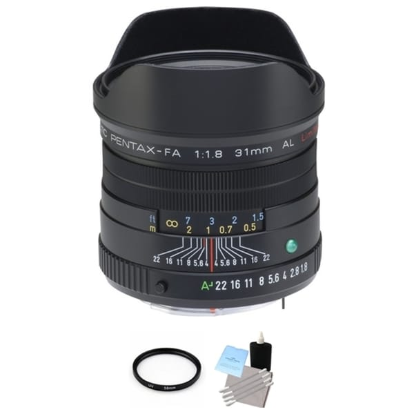 Pentax FA Black 31mm f/1.8 Limited Lens with UV Filter and Cleaning Bundle