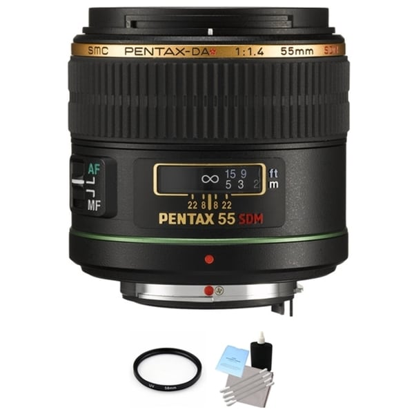 Pentax 55mm f/1.4 DA* SDM Autofocus Lens with UV Filter and Cleaning Bundle
