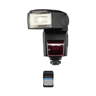 Pentax AF-540 FGZ P-TTL Shoe Mount Flash with Extra Batteries Bundle