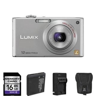 Panasonic Lumix DMC-FX48 Silver Digital Camera with 2 Batteries and 16GB Card Bundle