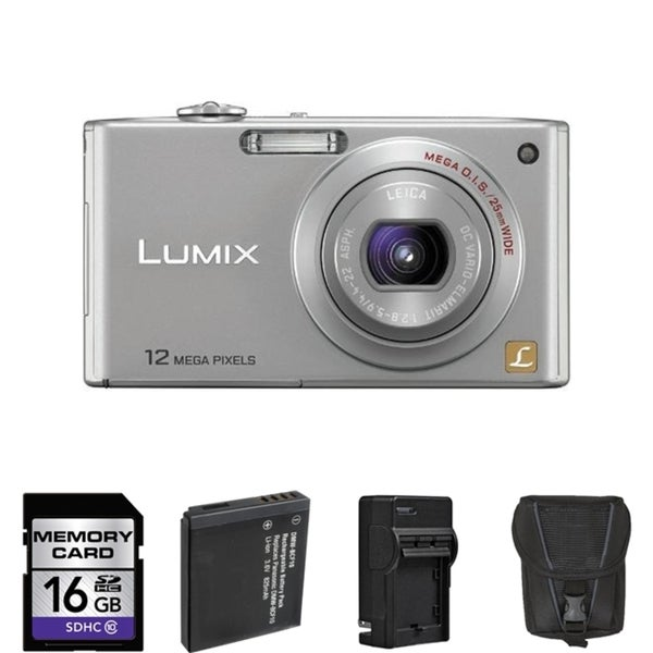 Panasonic Lumix DMC-FX48 Silver Digital Camera with 2 Batteries and 16GB Card Bundle