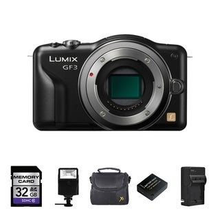 Panasonic DMC-GF3 Black Digital Camera (Body Only) with 2 Batteries/ 32GB Card and Flash Bundle