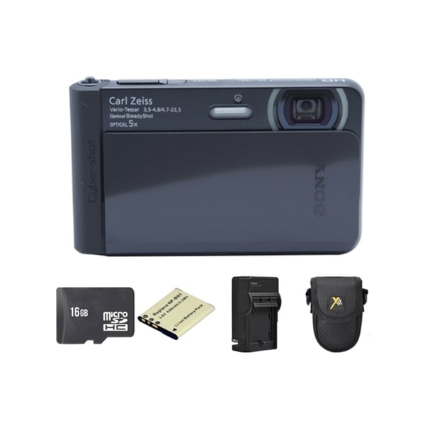 Sony Cyber-shot DSC-TX30 Black Digital Camera with 2 Batteries and 16GB Card Bundle