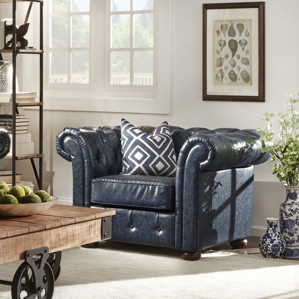 TRIBECCA HOME Knightsbridge Navy Bonded Leather Tufted Scroll Arm Chesterfield Chair