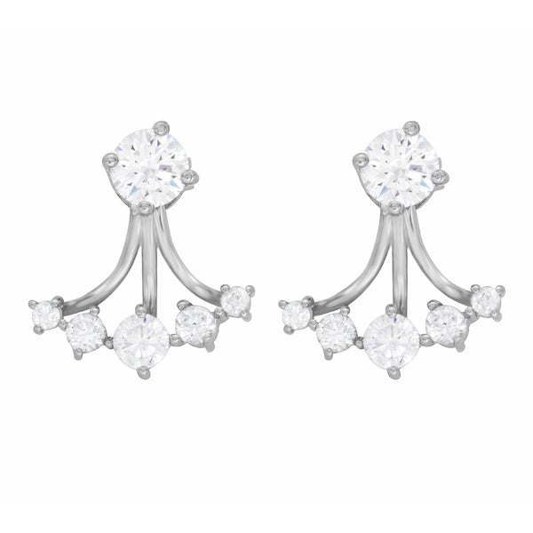 Sterling Essentials Rhodium Plated Silver Front Back Cubic Zirconia Earrings