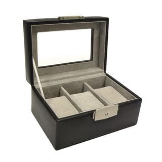 Royce Leather Luxury 3-slot Black Leather Watch Box