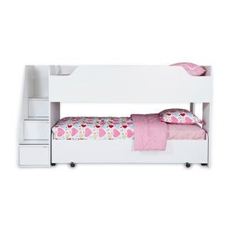 South Shore Mobby Twin Loft Bed with Trundle, Pure White