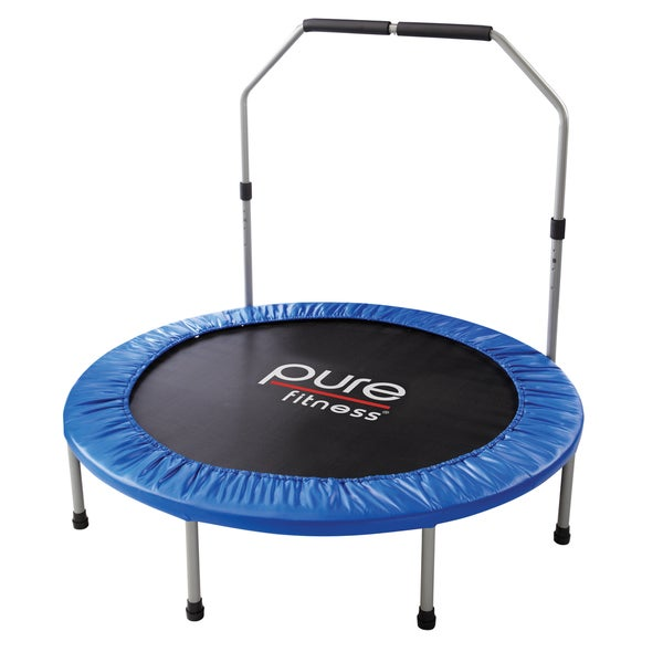 Pure Fitness 48-inch Mini Trampoline with Hand Rail