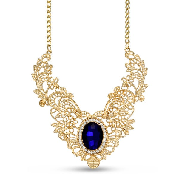 Gold Over Brass Royal Blue Glass Stone Regal Bib Necklace 15456289
