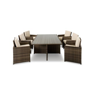Renava Barcelona Rectangular Compact Table with Fold-out Chairs and Individual Ottoman Patio Set