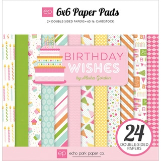 Echo Park DoubleSided Paper Pad 6inX6in 24/PkgBirthday Wishes Girl