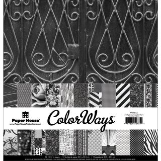 Paper House DoubleSided Paper Pack 12inX12in 12/PkgColorWays Noir