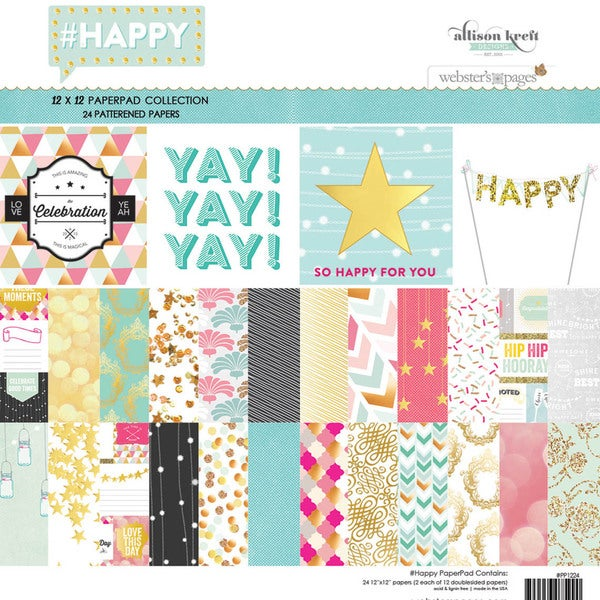 Webster's Pages Paper Pad 12inX12in 24/Pkg#HAPPY